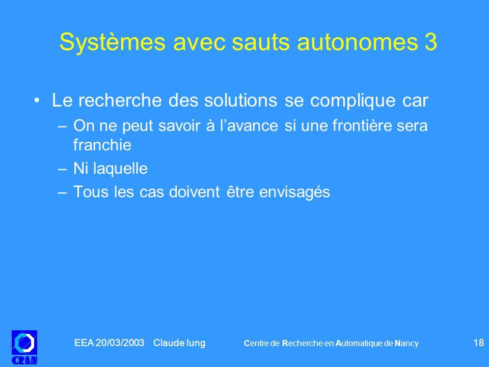 Systèmes avec sauts autonomes 3