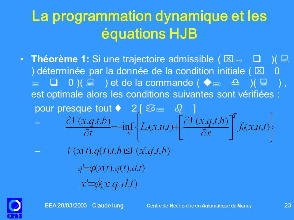 La programmation dynamique et les équations HJB
