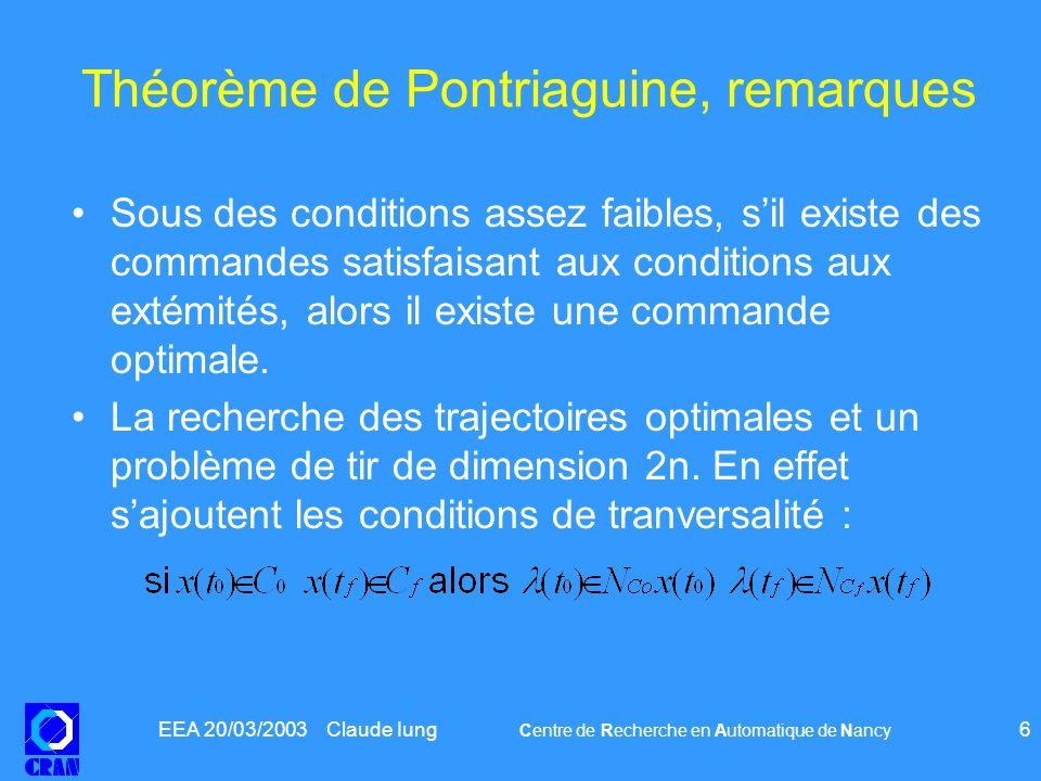 Théorème de Pontriaguine, remarques