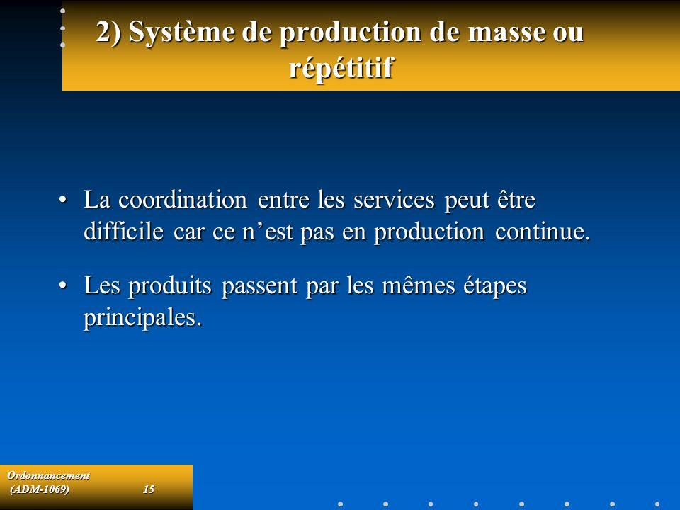 2) Système de production de masse ou répétitif
