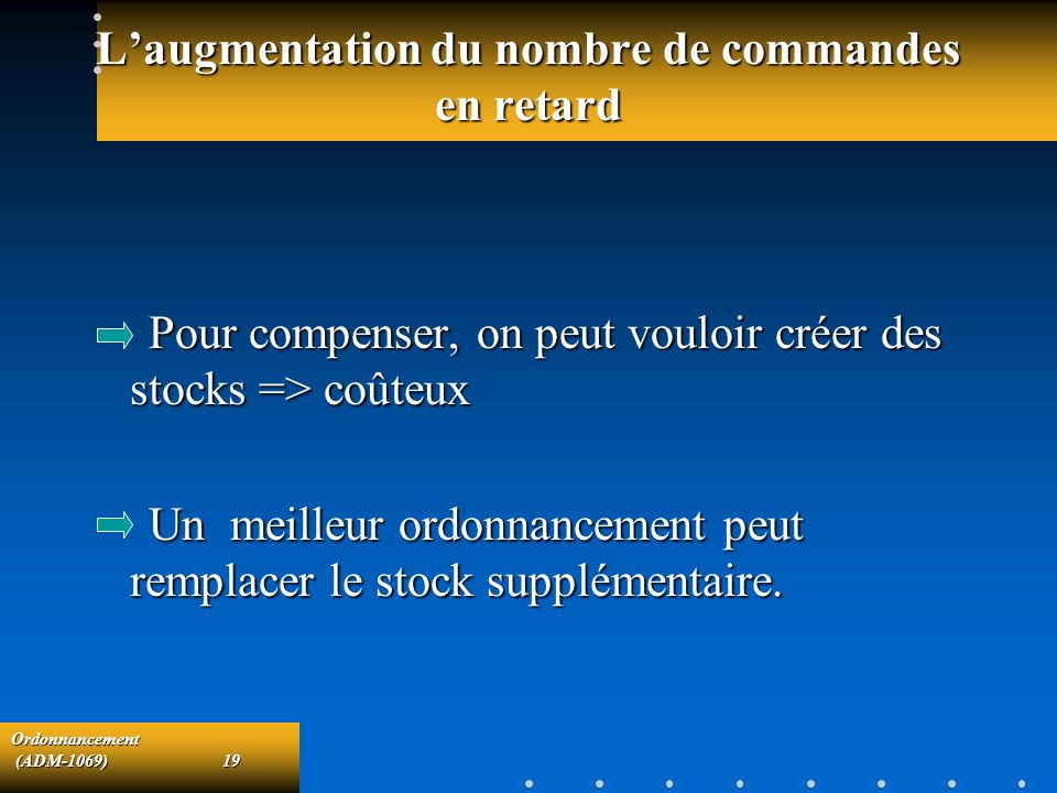 L'augmentation du nombre de commandes en retard