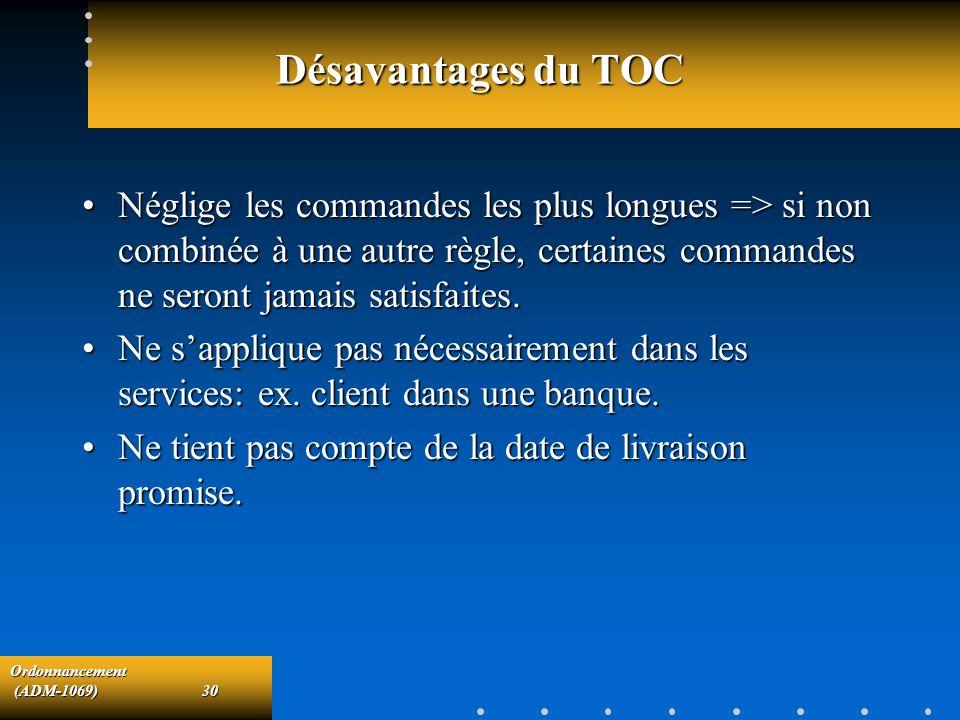 Désavantages du TOC Néglige les commandes les plus longues => si non combinée à une autre règle, certaines commandes ne seront jamais satisfaites.