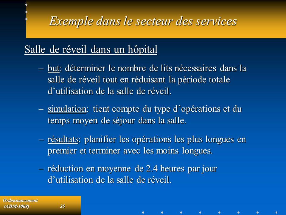 Exemple dans le secteur des services