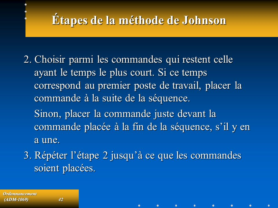 Étapes de la méthode de Johnson