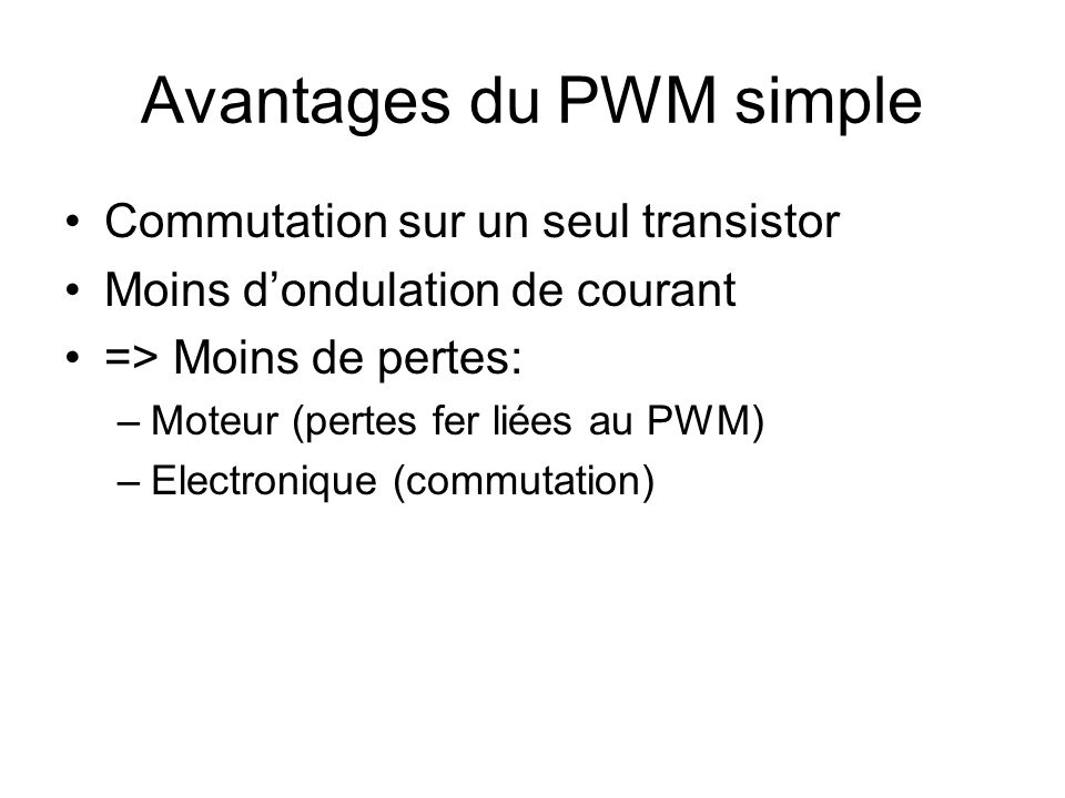 Avantages du PWM simple