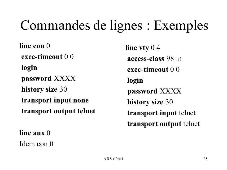 Commandes de lignes : Exemples