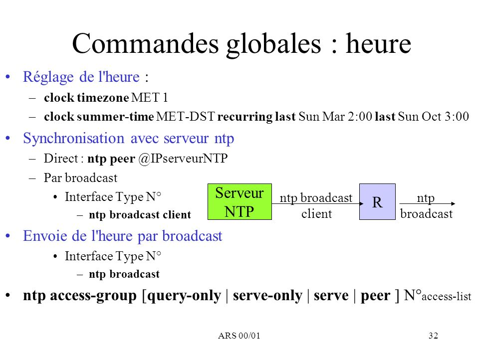 Commandes globales : heure