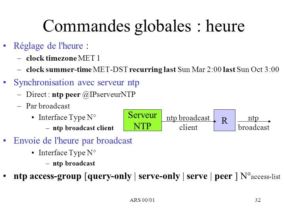 Commandes globales : heure
