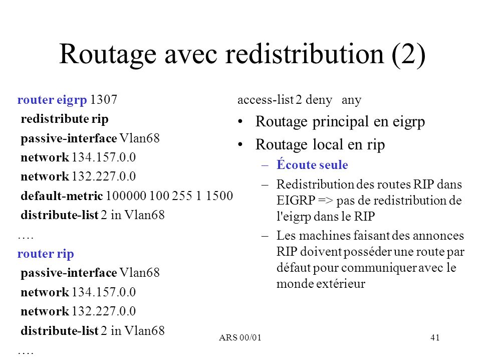 Routage avec redistribution (2)