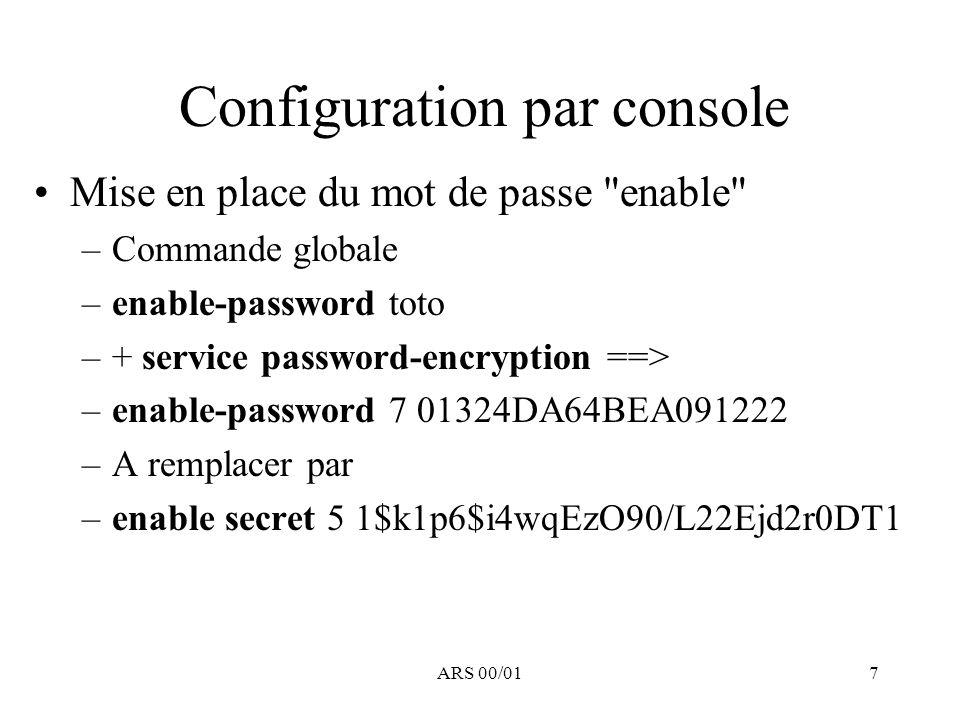 Configuration par console