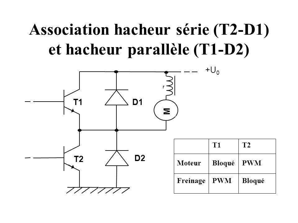 Association hacheur série (T2-D1) et hacheur parallèle (T1-D2)