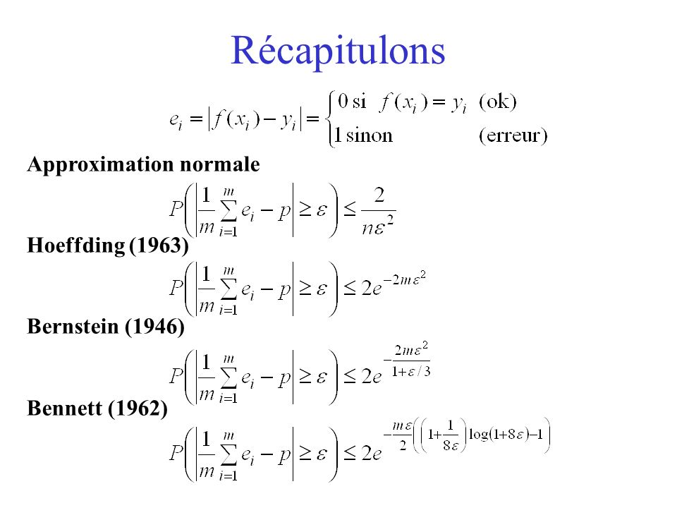 Récapitulons Approximation normale Hoeffding (1963) Bernstein (1946)
