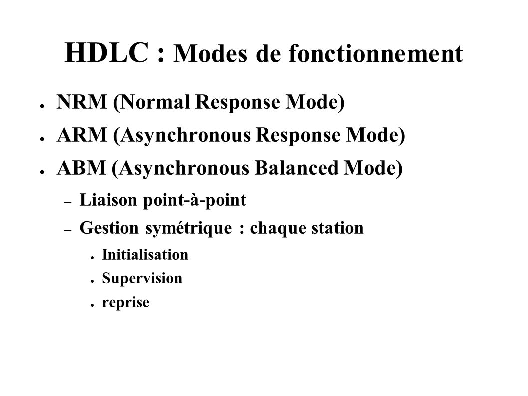 HDLC : Modes de fonctionnement