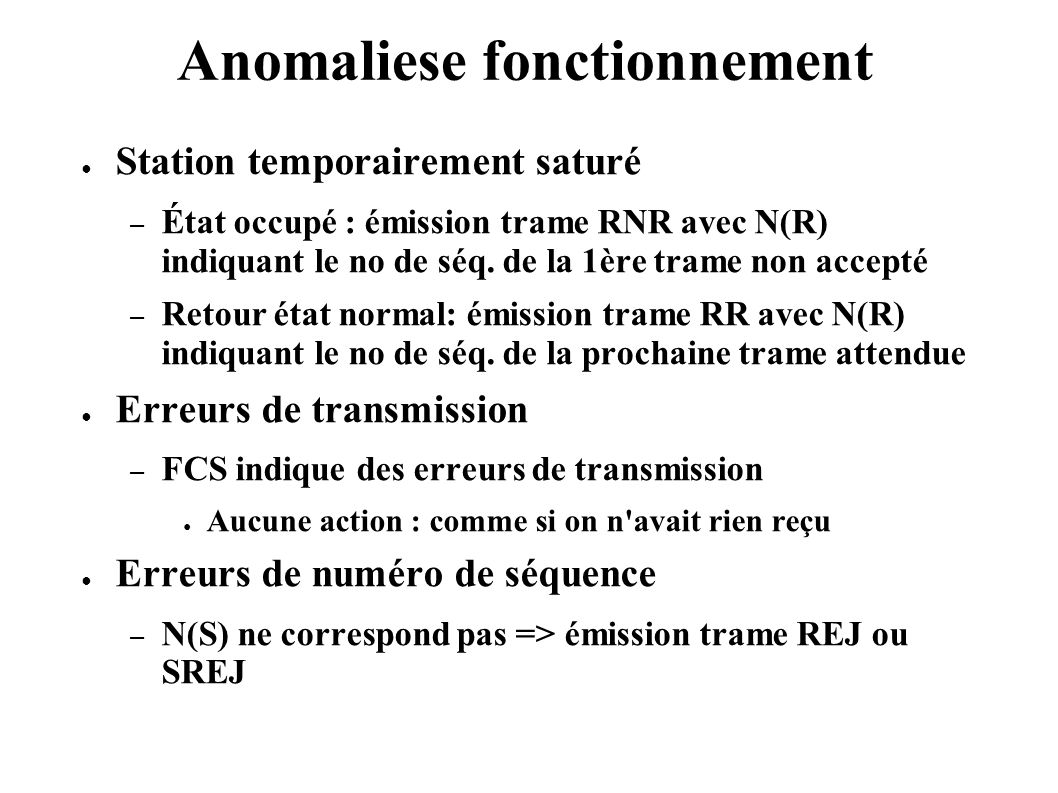 Anomaliese fonctionnement