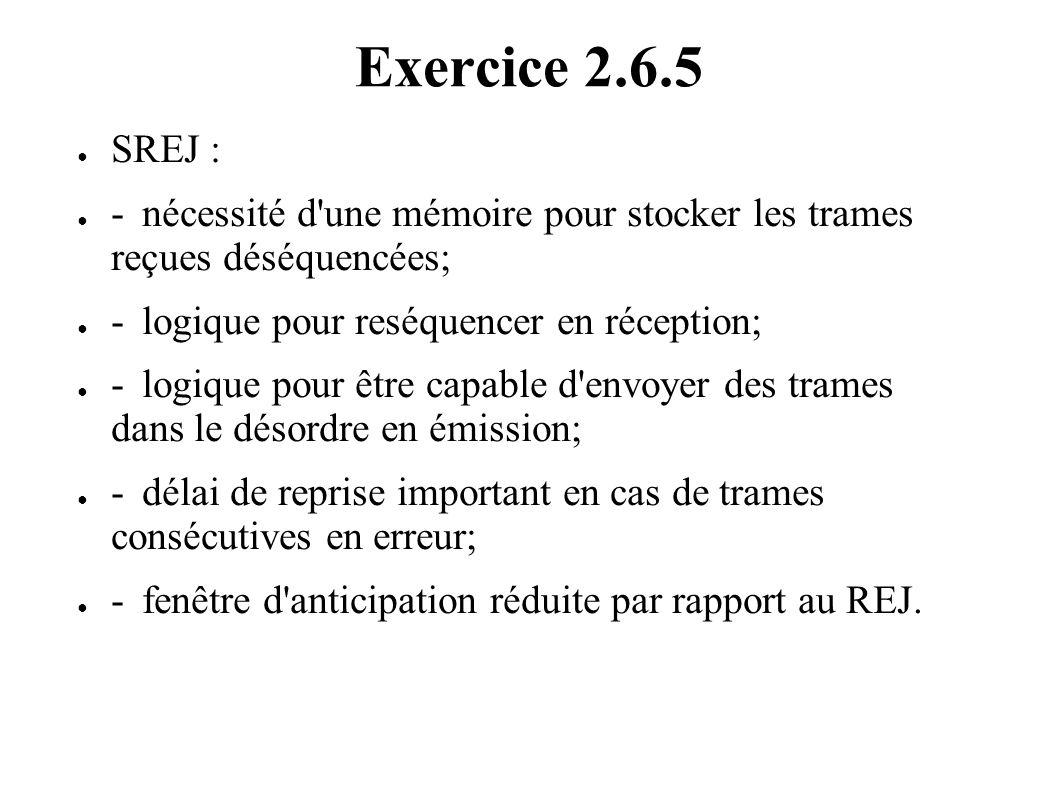 Exercice 2.6.5 SREJ : - nécessité d une mémoire pour stocker les trames reçues déséquencées; - logique pour reséquencer en réception;