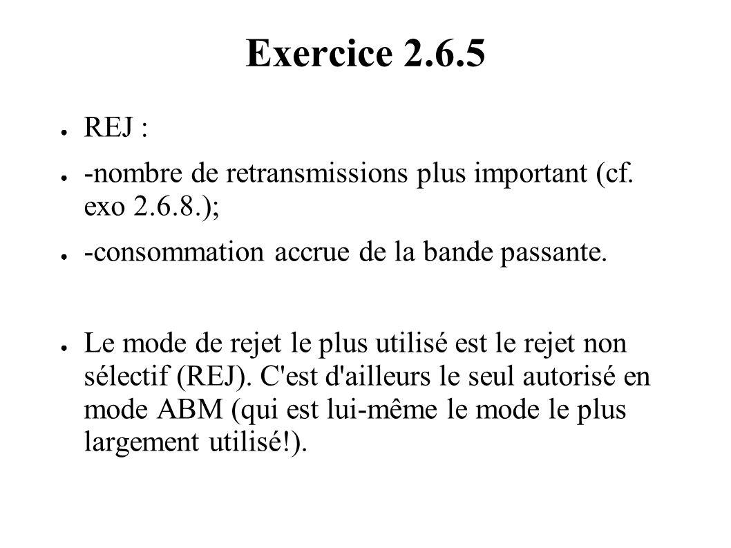 Exercice 2.6.5 REJ : -nombre de retransmissions plus important (cf. exo 2.6.8.); -consommation accrue de la bande passante.