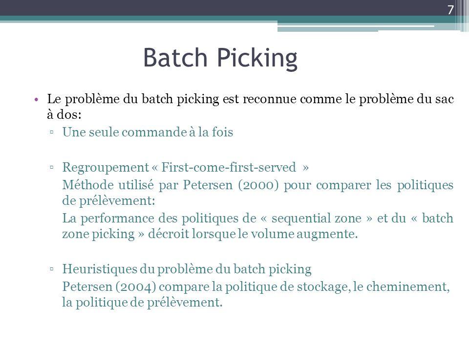 Batch Picking Le problème du batch picking est reconnue comme le problème du sac à dos: Une seule commande à la fois.