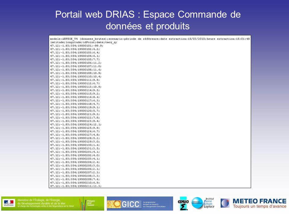 Portail web DRIAS : Espace Commande de données et produits