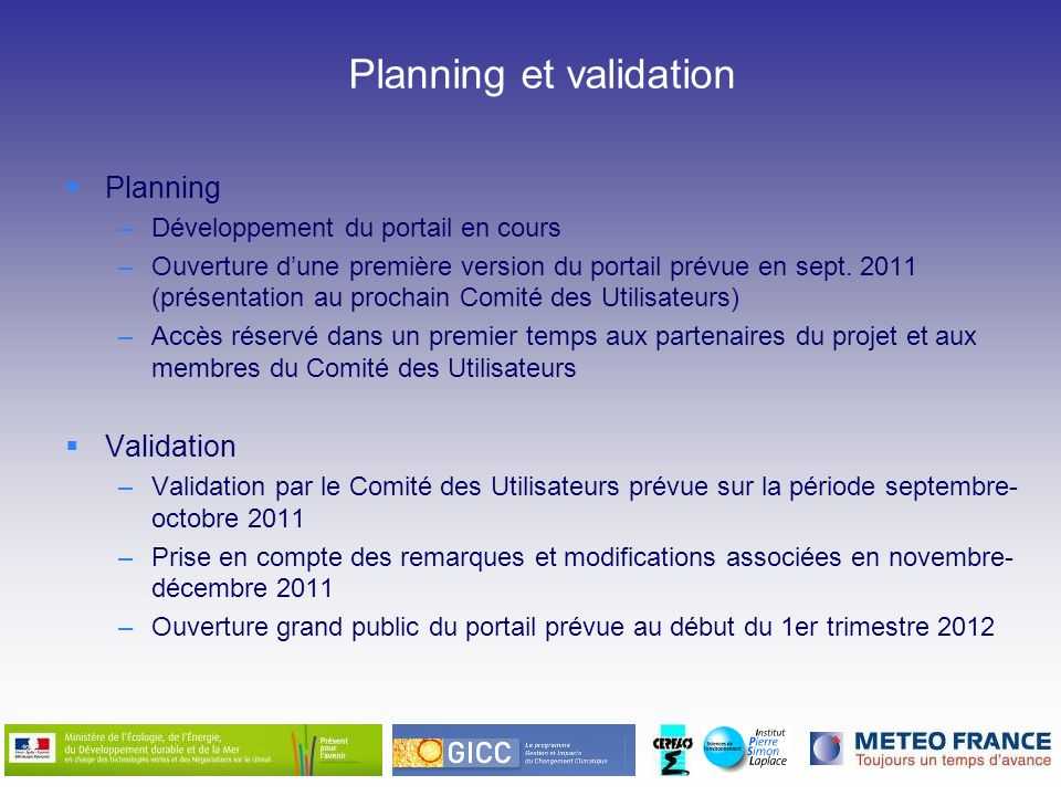 Planning et validation