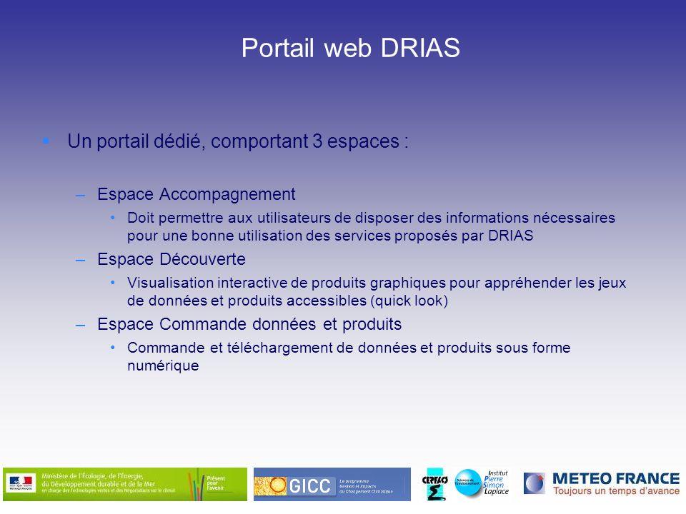 Portail web DRIAS Un portail dédié, comportant 3 espaces :
