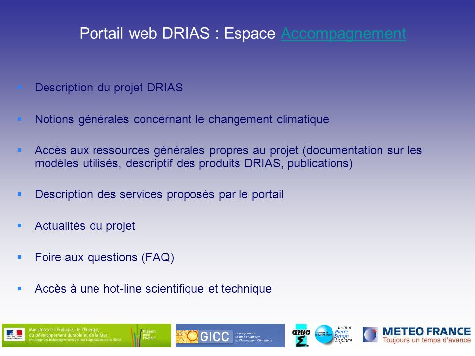 Portail web DRIAS : Espace Accompagnement