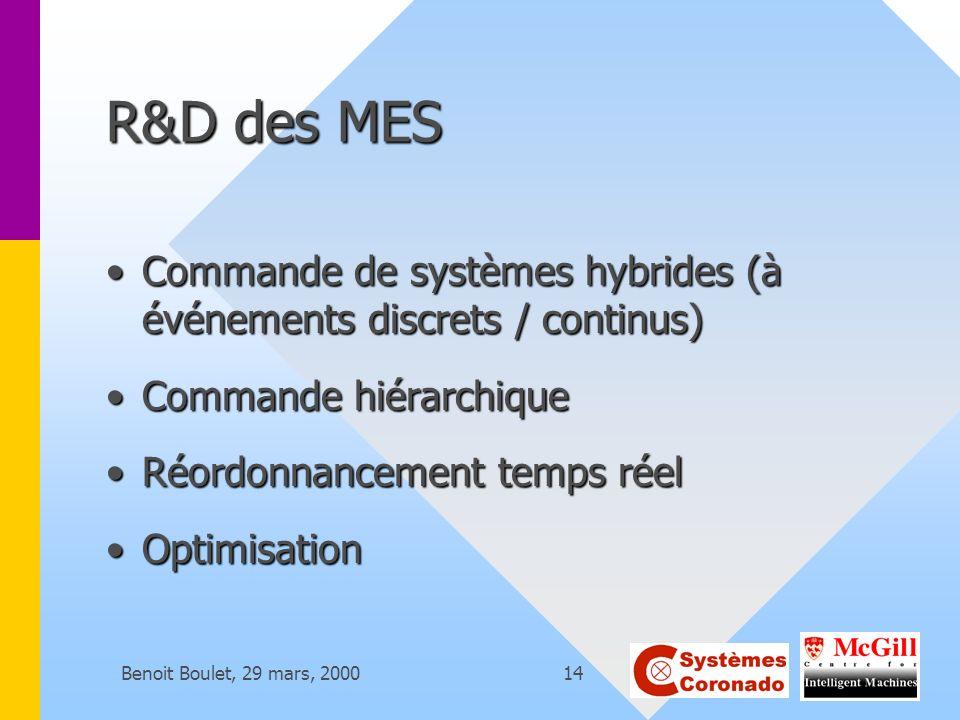 R&D des MES Commande de systèmes hybrides (à événements discrets / continus) Commande hiérarchique.