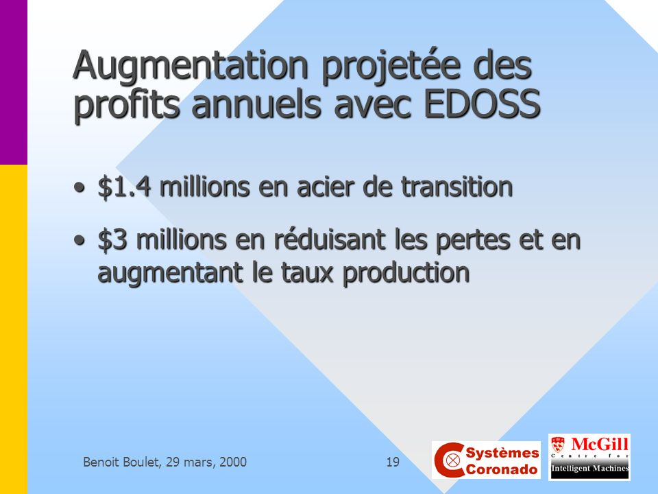 Augmentation projetée des profits annuels avec EDOSS