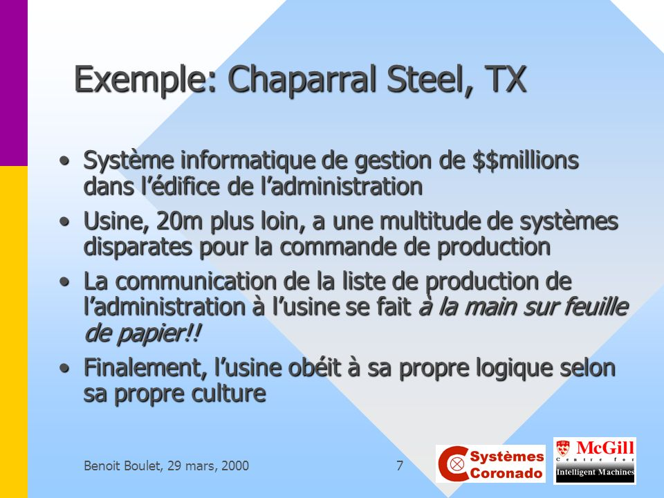 Exemple: Chaparral Steel, TX