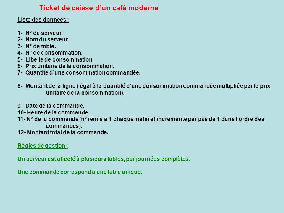 Ticket de caisse d'un café moderne