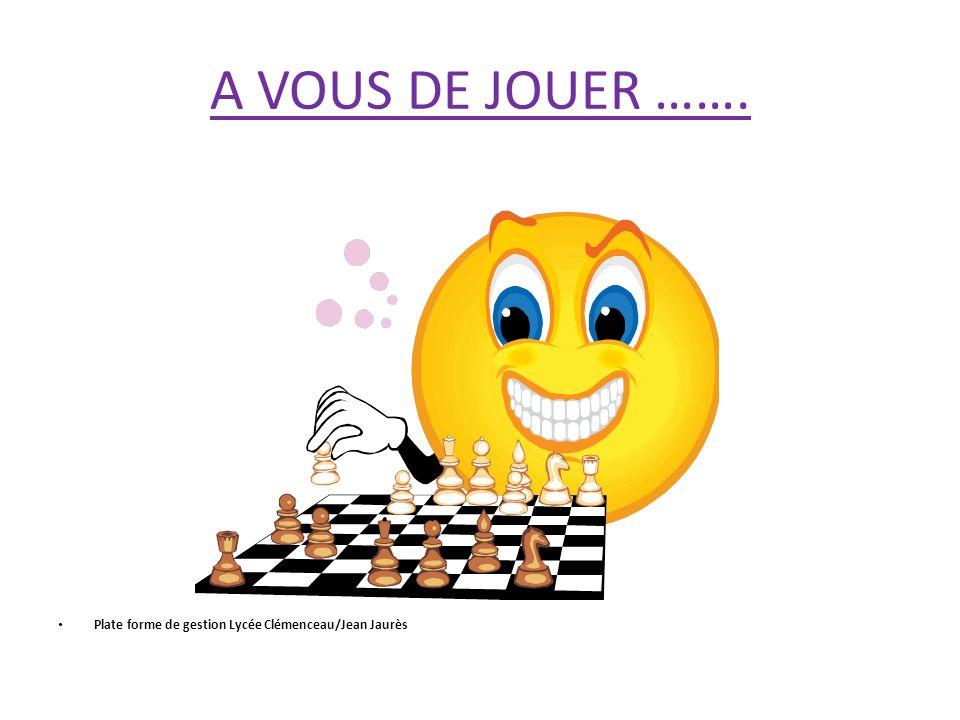 A VOUS DE JOUER ……. Plate forme de gestion Lycée Clémenceau/Jean Jaurès