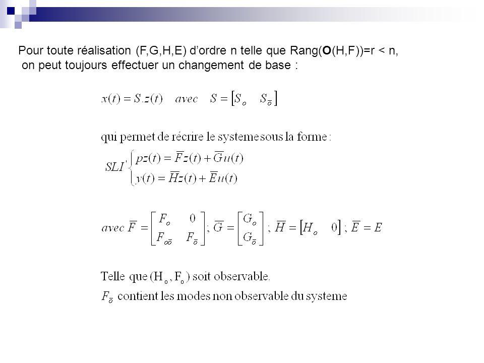 Pour toute réalisation (F,G,H,E) d'ordre n telle que Rang(O(H,F))=r < n,