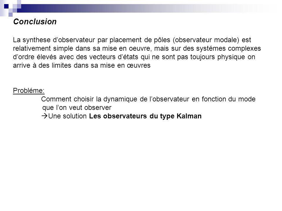 Conclusion La synthese d'observateur par placement de pôles (observateur modale) est.