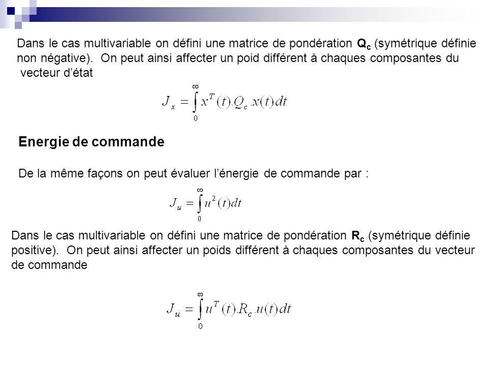 Dans le cas multivariable on défini une matrice de pondération Qc (symétrique définie