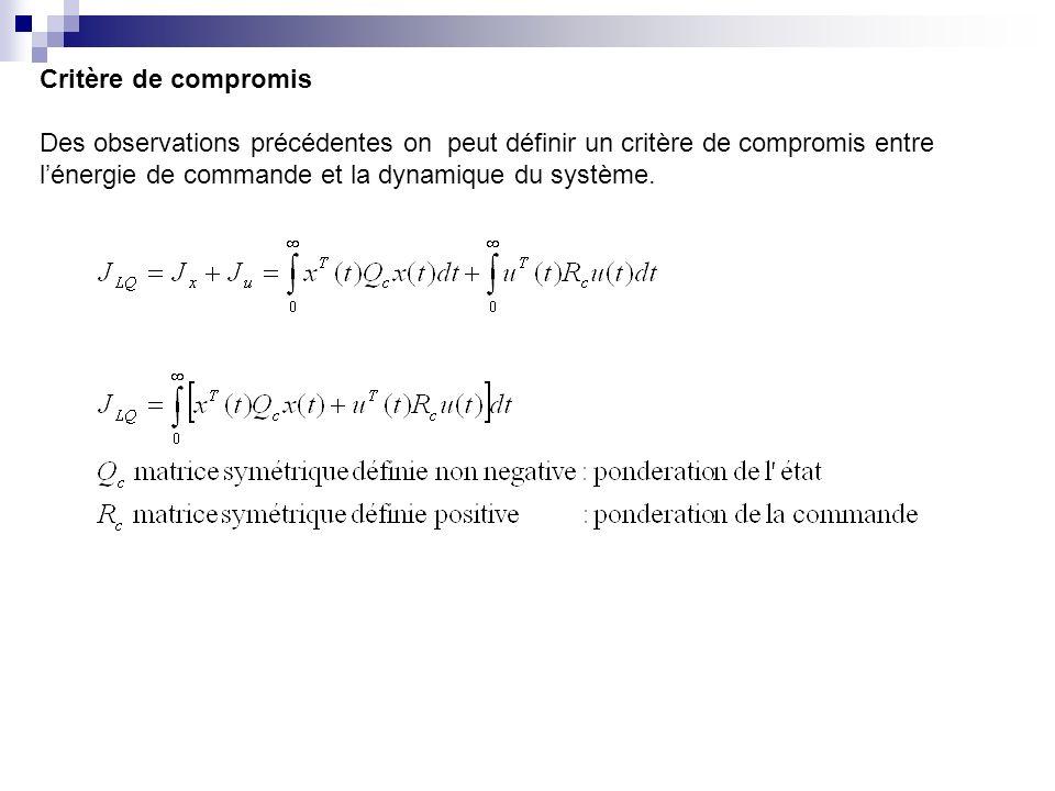 Critère de compromis Des observations précédentes on peut définir un critère de compromis entre.