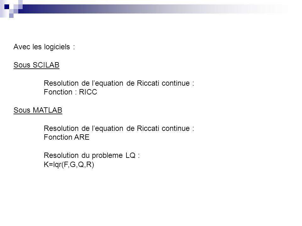 Avec les logiciels : Sous SCILAB. Resolution de l'equation de Riccati continue : Fonction : RICC.
