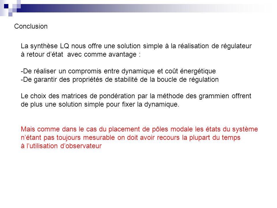 Conclusion La synthèse LQ nous offre une solution simple à la réalisation de régulateur. à retour d'état avec comme avantage :