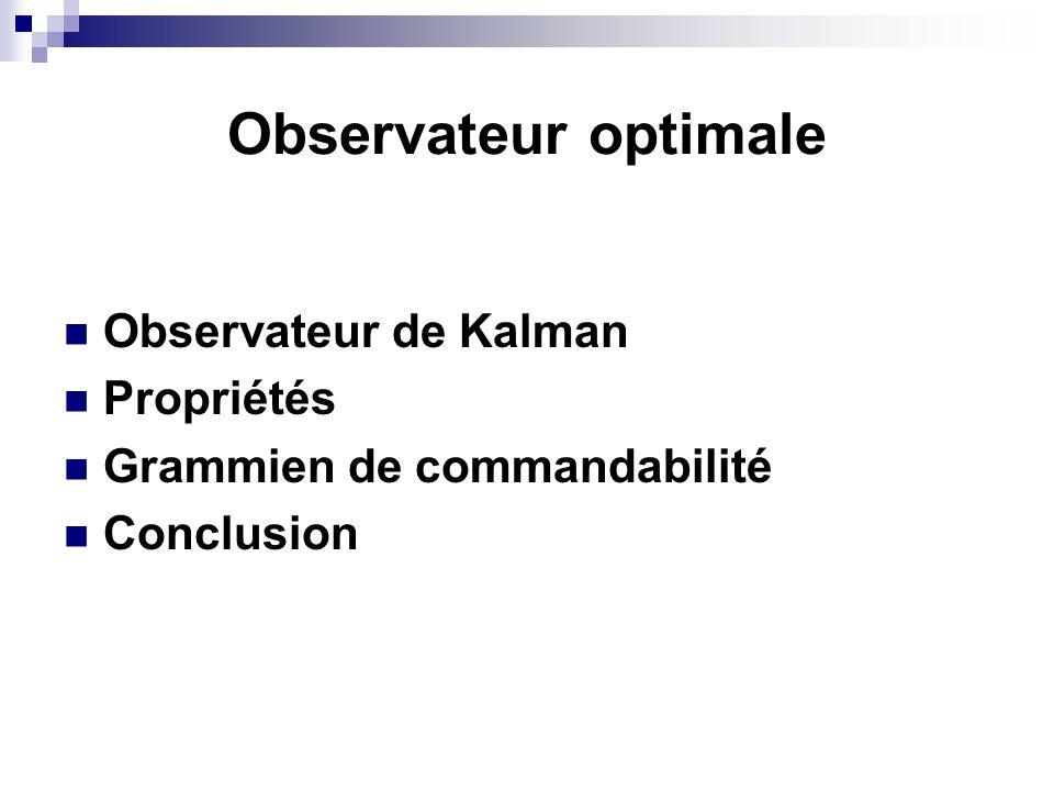 Observateur optimale Observateur de Kalman Propriétés