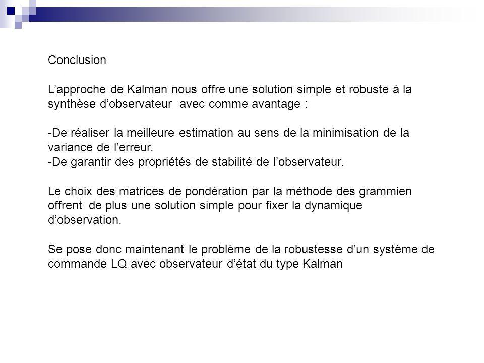 Conclusion L'approche de Kalman nous offre une solution simple et robuste à la synthèse d'observateur avec comme avantage :