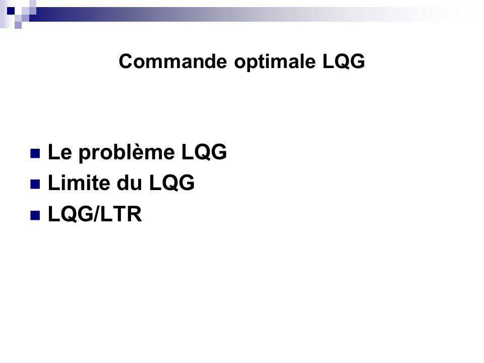 Commande optimale LQG Le problème LQG Limite du LQG LQG/LTR