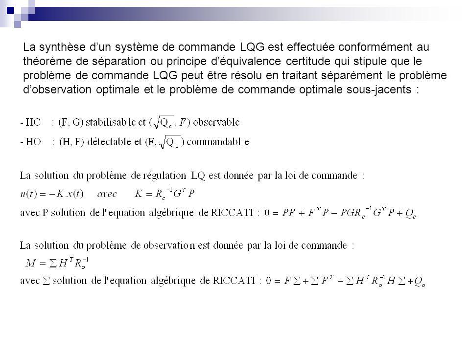 La synthèse d'un système de commande LQG est effectuée conformément au