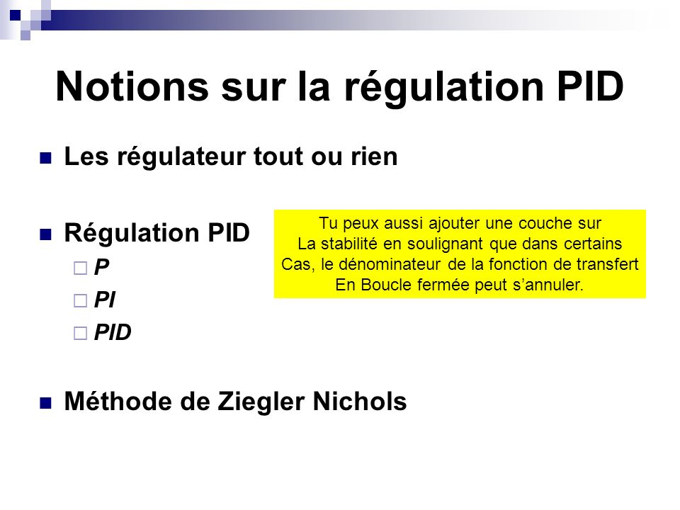 Notions sur la régulation PID