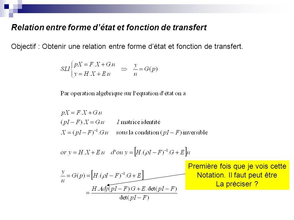 Relation entre forme d'état et fonction de transfert