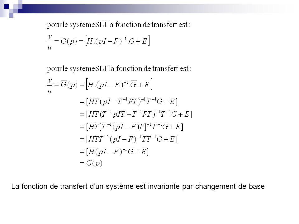 La fonction de transfert d'un système est invariante par changement de base