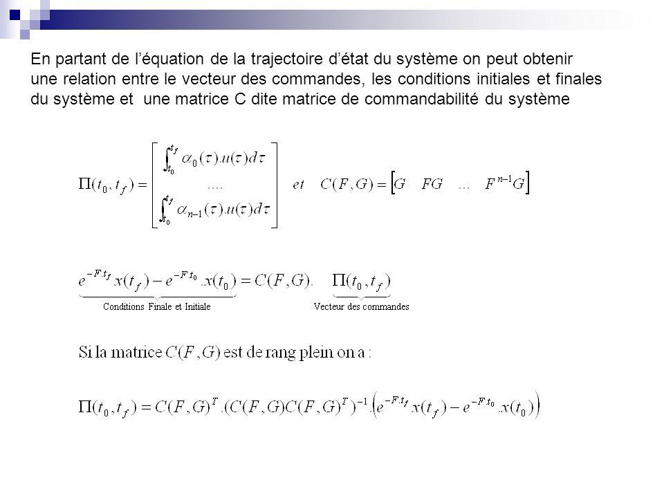 En partant de l'équation de la trajectoire d'état du système on peut obtenir