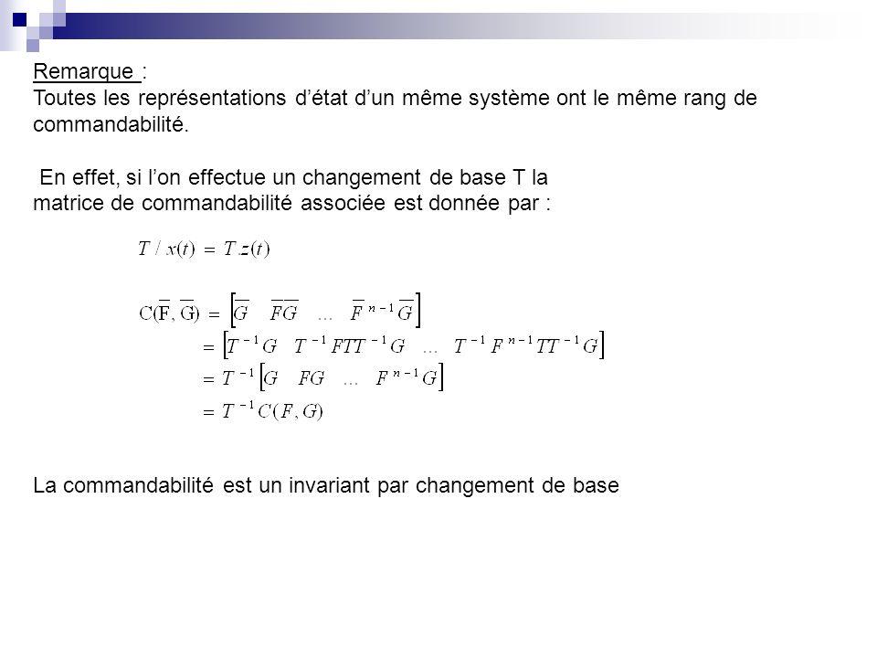 Remarque : Toutes les représentations d'état d'un même système ont le même rang de. commandabilité.