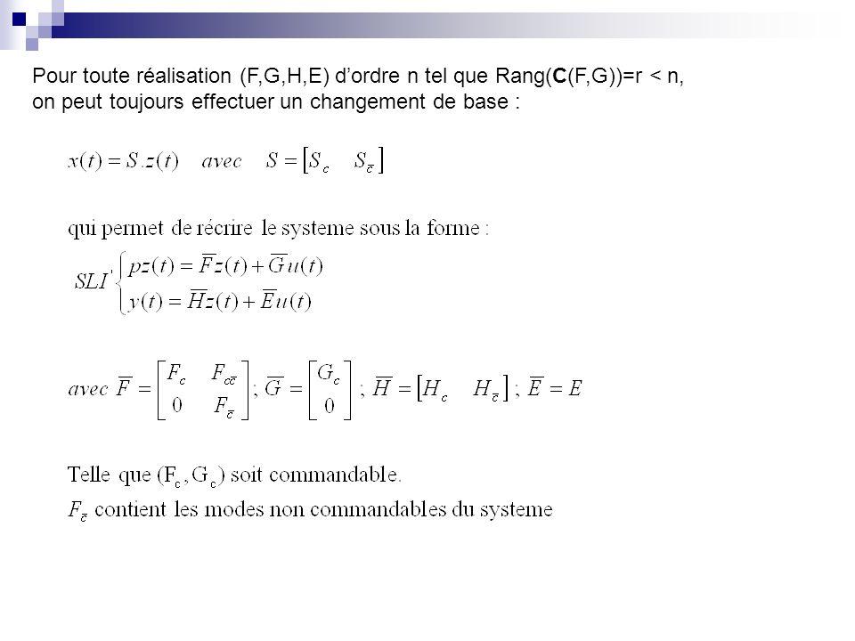 Pour toute réalisation (F,G,H,E) d'ordre n tel que Rang(C(F,G))=r < n,