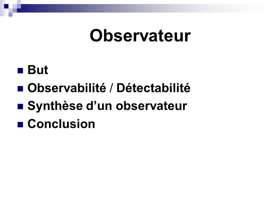 Observateur But Observabilité / Détectabilité
