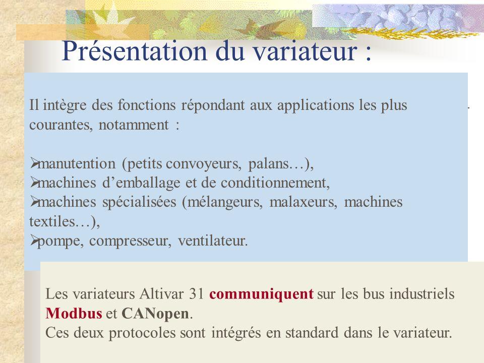 Présentation du variateur :