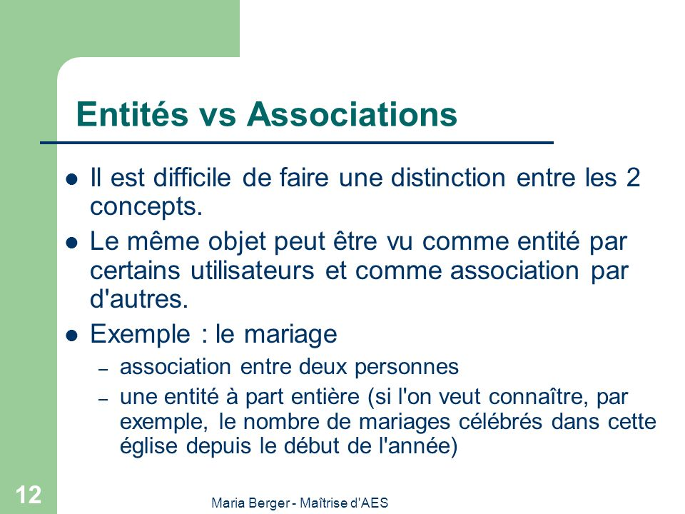 Entités vs Associations