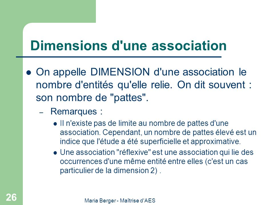 Dimensions d une association